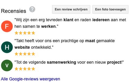 Google review Takt Online